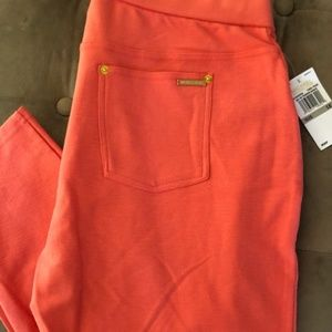 Michael Kors Womens Coral Stretch Pants Plus Size